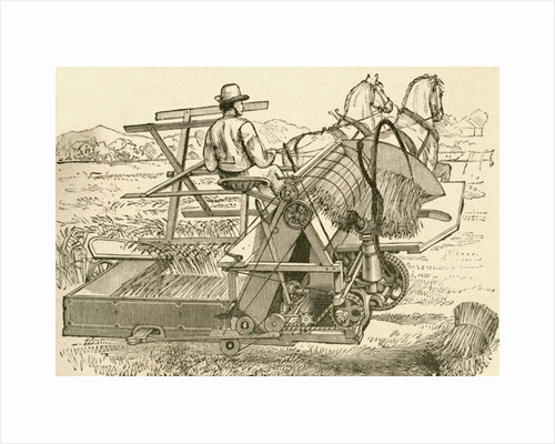 A harvesting machine, pulled by horses, which tied the sheaves of corn mechanically, used in the late 19th century by Anonymous
