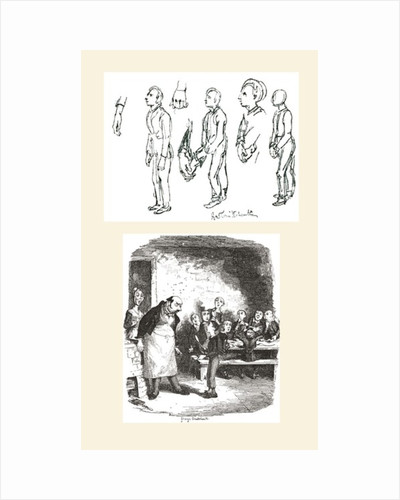 Top sketch by George Cruikshank is a study for Oliver Twist Asking For More, and the bottom one is the final published drawing by Anonymous