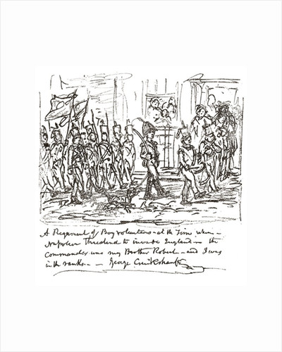 Sketch in pen and ink by George Cruikshank depicting his brother Robert heading a boy regiment, with himself in the front rank by Anonymous