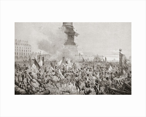 The angry Paris mob burning the royal throne at the July Column during the Paris Revolution of 1848 by Anonymous