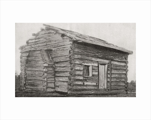 One room, one window, dirt floor log cabin at Sinking Spring Farm, Hardin County, Kentucky, America, where Abraham Lincoln was born by Anonymous