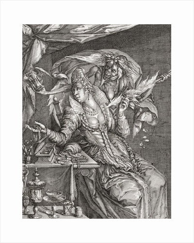 Vanitas with death and a maiden, after Jacob De Gheyn by Anonymous
