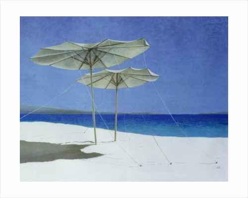 Umbrellas, Greece by Lincoln Seligman