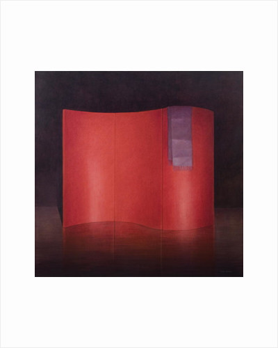 Curving red lacquer screen by Lincoln Seligman