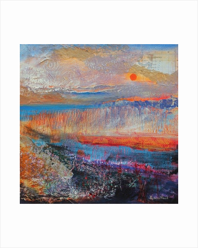 Marsh Sunset 2013, acrylic/paper collage by Sylvia Paul