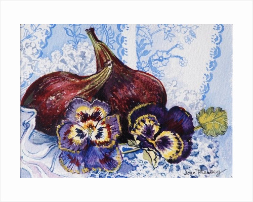 Two Figs with Pansies, 2002,(w/c on handmade paper) by Joan Thewsey