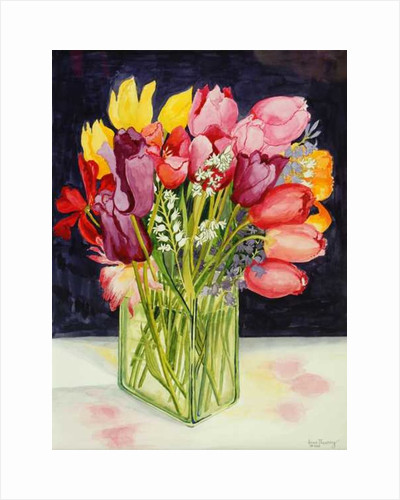 Tulips and Bluebells in a Rectangular Glass Tub by Joan Thewsey