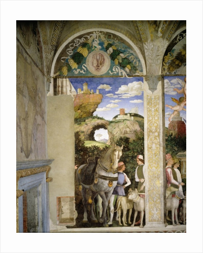 Horse and groom with hunting dogs by Andrea Mantegna