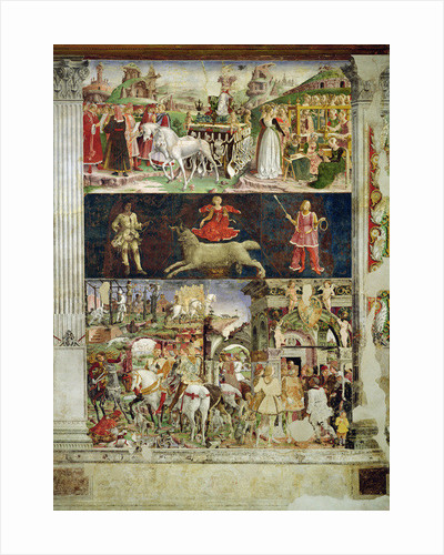 Allegory of March: the triumph of Minerva, the astrological symbol of Aries and Borso d'Este making justice and departing for the hunt by Francesco del Cossa