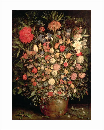 Large bouquet of flowers in a wooden tub by Jan the Elder Brueghel