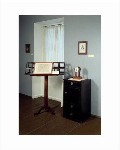 Beethoven Room displaying a music stand and mantel clock once belonging to Ludwig van Beethoven by Anonymous