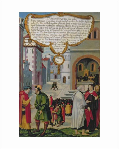 'The Realm of Heaven may be compared to a king who resolved to settle accounts with his servants' by Matthias Gerung or Gerou