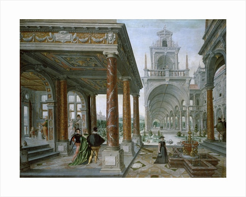Cappricio of palace architecture with Figures Promenading by Hans or Jan Vredeman de Vries