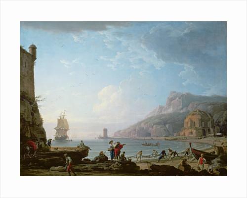 Morning scene in a bay by Claude Joseph Vernet