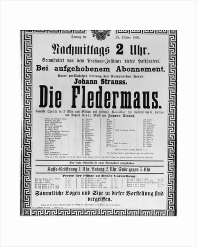 Poster advertising 'Die Fledermaus' by Johann Strauss the Younger by Austrian School