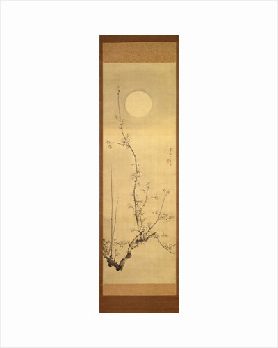 Blossoming plum-tree against the full moon, c.1800-22 by Gentai Sanjin
