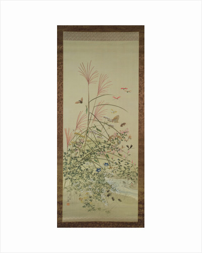 Autumn flowers and insects by a stream, 1910 by Bunrei Maekawa