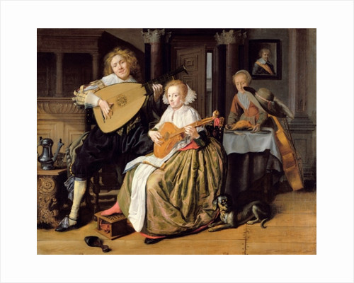 A Young Man Playing a Theorbo and a Young Woman Playing a Cittern by Jan Miense Molenaer