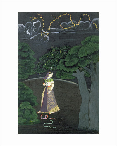 A lady on her way to a tryst, Guler by Indian School