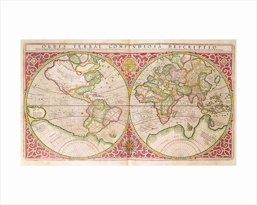 Double Hemisphere World Map by Gerardus Mercator