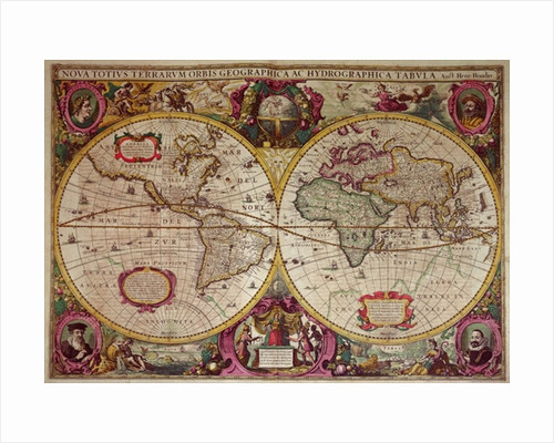 A New Land and Water Map of the Entire Earth by Henricus Hondius