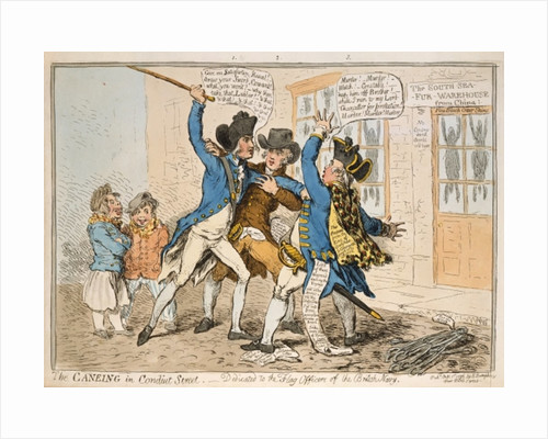 The Caneing in Conduit Street, published by Hannah Humphrey by James Gillray