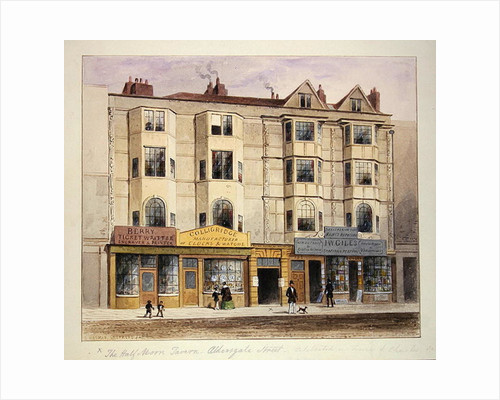 An old House called the Half Moon Tavern, on the West side of Aldersgate Street by Thomas Hosmer Shepherd