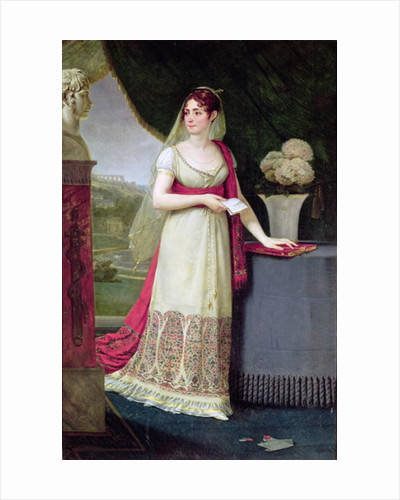 Josephine Tasher de la Pagerie Empress of the French, gazing at a bust of her son Eugene de Beauharnais at Malmaison by Baron Antoine Jean Gros