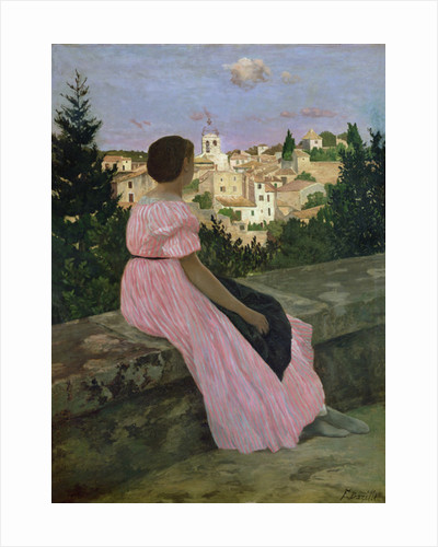 The Pink Dress, or View of Castelnau-le-Lez, Herault by Jean Frederic Bazille
