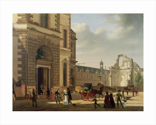 The Entrance to the Musee de Louvre and St. Louis Church by Etienne Bouhot