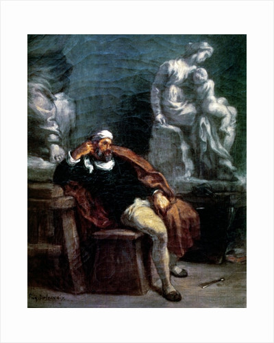 Michelangelo in his Studio by Ferdinand Victor Eugene Delacroix