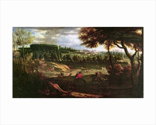 Louis XIV Hunting at Marly with a a View of Chateau Vieux de Saint Germain by Pierre-Denis Martin