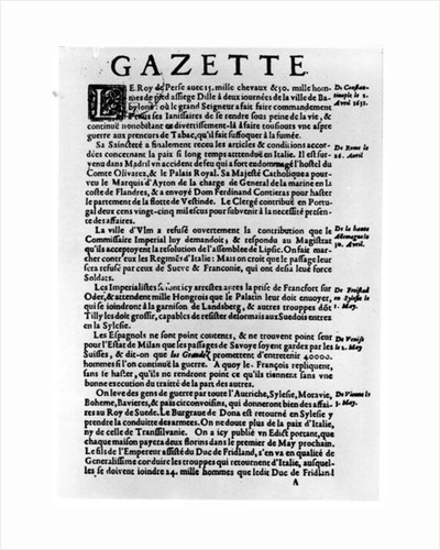 Page of text from 'La Gazette' describing the siege of a town near Babylon by the King of Persia by Theophraste Renaudot