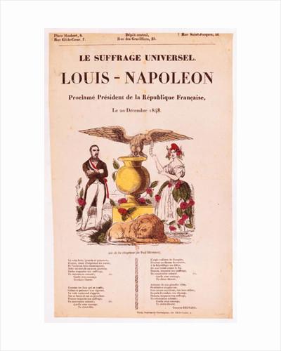 Illustrated lyric sheet for 'Le Suffrage Universel, Louis-Napoleon proclame president de la Republique francaise' by French School