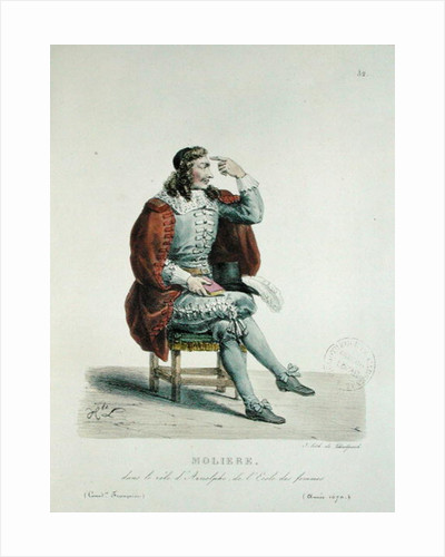 Portrait of Moliere in the role of Arnolfe from 'L'Ecole des Femmes' at the Comedie Francaise in 1670 by Francois Seraphin Delpech