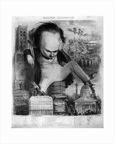 Caricature of Victor Hugo from 'Le Pantheon Charivarique' by Benjamin Roubaud