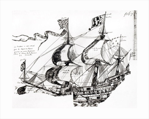 Jacques Cartier's ship by French School