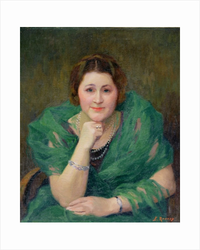 Portrait of a Russian Woman with a Green Scarf by Jules Ernest Renoux