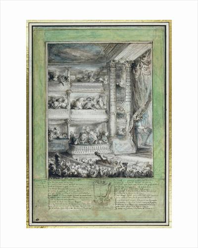 The Crowning of Voltaire at the Theatre Francais by Gabriel de Saint-Aubin