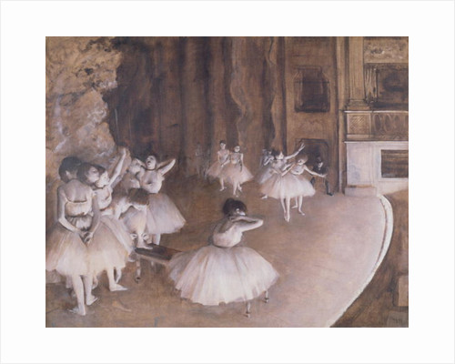 Ballet Rehearsal on the Stage by Edgar Degas
