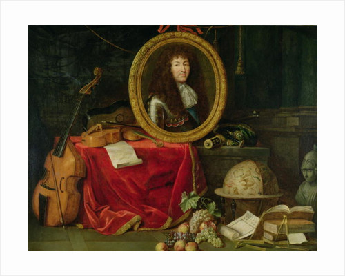 Still life with portrait of King Louis XIV surrounded by musical instruments, flowers and fruit by Jean Garnier
