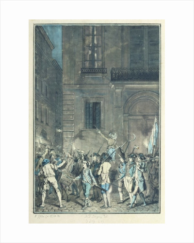 The mob roaming the streets of Paris carrying torches at night in July 1789 by Antoine Louis Francois Sergent-Marceau