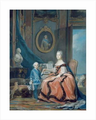 Portrait of Marie-Josephe de Saxe Dauphine of France and her son Louis Joseph Xavier de France Duke of Burgundy by Maurice Quentin de la Tour