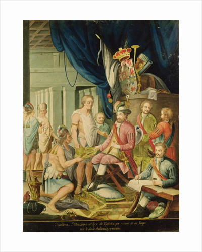 Montezuma Declares his Allegiance to the King of Spain before Cortes by Spanish School