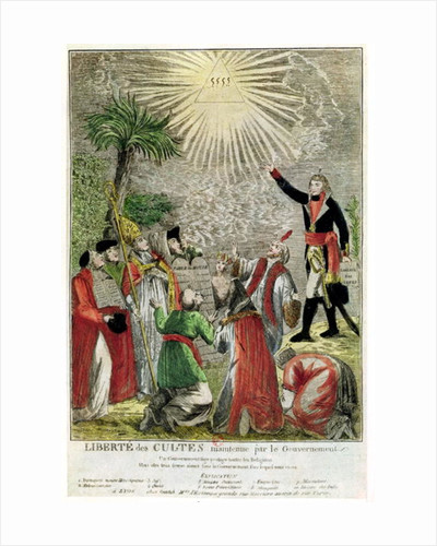 Freedom of Worship during the period of Napoleon's consulship, depicting Napoleon pointing towards the Supreme Being by French School