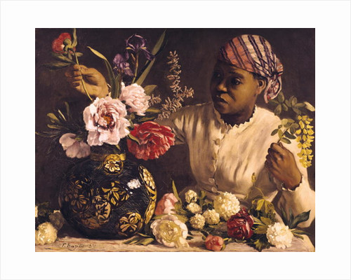 Negress with Peonies by Jean Frederic Bazille