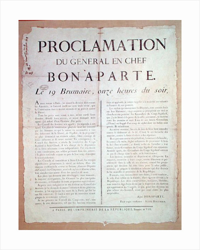 Proclamation of Napoleon I 19 Brumaire An 8 by French School