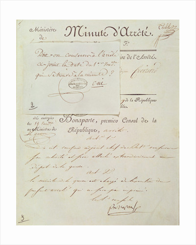 Official document signed by Napoleon I 1 Vendemiaire An 9 by French School