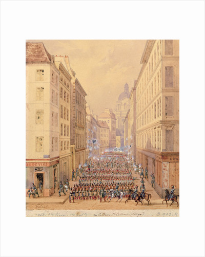 March of the First Battalion, Rue Culture Sainte-Catherine by Gaspard Gobaut