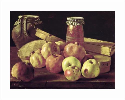 Still Life with Pomegranates, Apples, a Pot of Jam and a Stone Pot by Luis Egidio Melendez